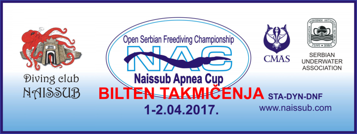 Rezultati - NAISSUB APNEA CUP 2017 - otvoreno prvenstvo Srbije